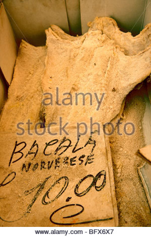 dried cod, Palermo food market, Sicily - Stock Photo
