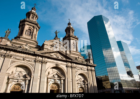 Metropolitan Cathedral, Plaza de Armas (Main Square), Santiago de Chile - Stock Photo
