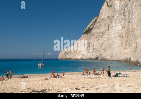 Greece. Zakynthos. Zakinthos, Zante. Greek island. October. On the beach in Smuggler's Cove, Shipwreck Cove, Ag. - Stock Photo