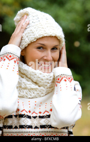 Junge Frau im Herbst Portrait, young woman in the autumn - Stock Photo