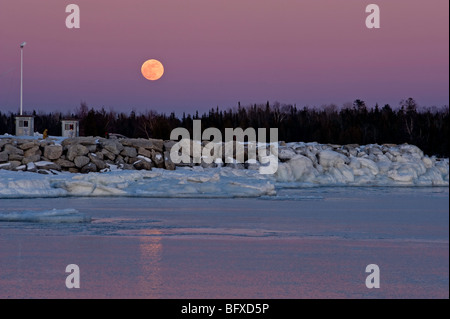 Moonrise over South Bay, South Bay, Manitoulin Island, Ontario, Canada - Stock Photo