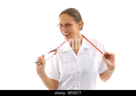 Krankenschwester mit Stethoskop, nurse with stethoscope - Stock Photo