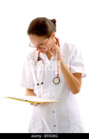 Krankenschwester mit Stethoskop und Krankenakte, nurse with stethoscope and medical record - Stock Photo