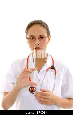 Krankenschwester mit einer Spritze, nurse with injection - Stock Photo
