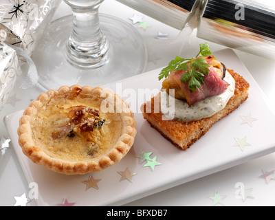 Individual Stilton quiche and angel on horse back