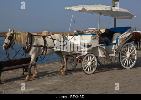 A tourist horse and cart with a reposing driver in the afternoon sun - Stock Photo