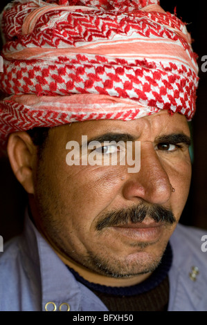 A closeup portrait of a middle-aged, Middle Eastern, Arab Egyptian  Bedouin man living in Dakhla Oasis, in the New - Stock Photo