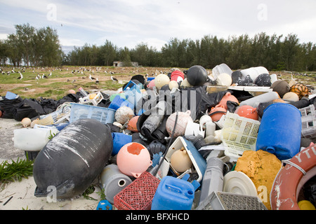 Marine debris brought to Midway Atoll by ocean currents, collected to be shipped off island for recycling or disposal