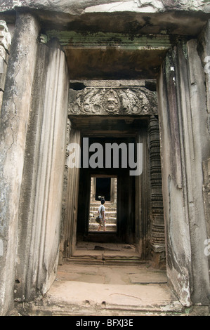 door and passageway at the Bayon temple at Angkor Wat in Cambodia - Stock Photo