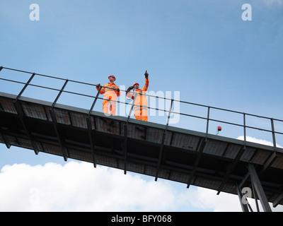 Coal Workers On Viewing Platform - Stock Photo