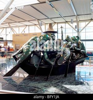 YVR Vancouver International Airport, Richmond, BC, British Columbia, Canada - Spirit of Haida Gwaii Sculpture (artist - Stock Photo