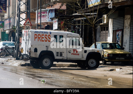 Reuters TV landrover in the Gaza Strip. - Stock Photo