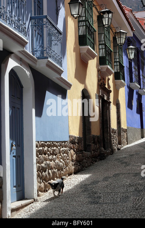 Colonial architecture in Calle Jaen , the best preserved colonial street in La Paz , Bolivia - Stock Photo