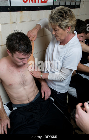 sports injury being treated - Stock Photo