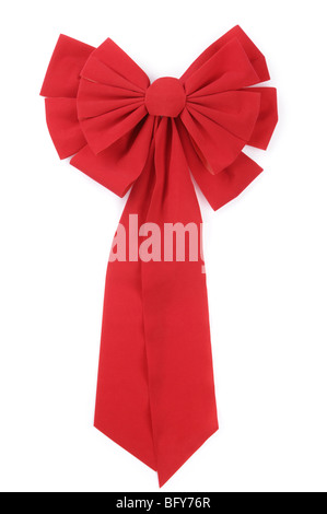 Red Christmas Bow isolated on white background with clipping path - Stock Photo