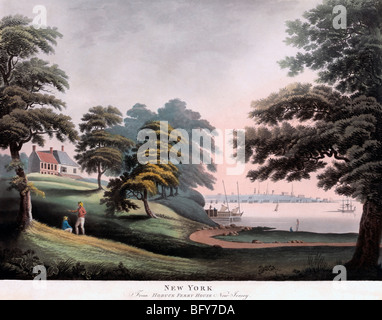 New York from Hobuck Ferry House New Jersey - Stock Photo