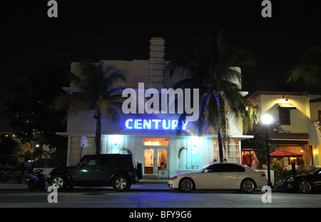 Art Deco Century Hotel illuminated at night. Ocean Drive, Miami South Beach, Florida - Stock Photo