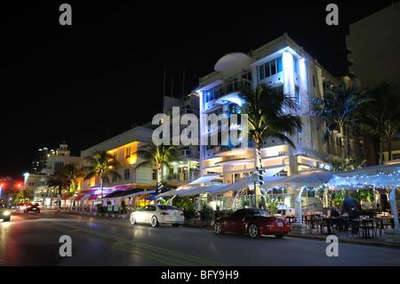 Miami South Beach Art Deco District at Night, Ocean Drive - Stock Photo
