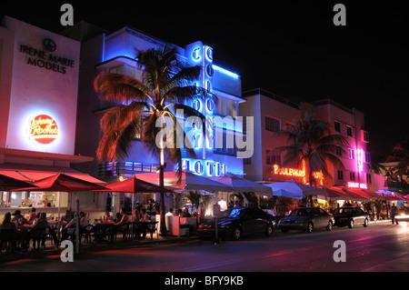 Miami South Beach Art Deco District at Night, Florida - Stock Photo