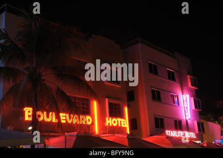 Miami Art Deco District Hotels illuminated at night. - Stock Photo