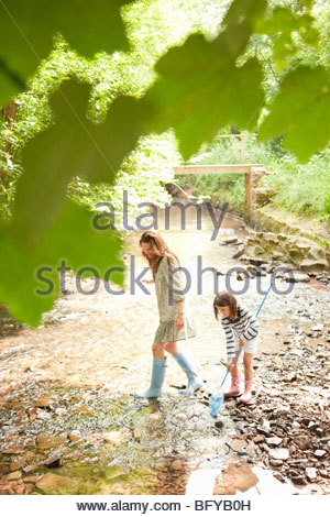 Mother and daughter with nets in stream - Stock Photo