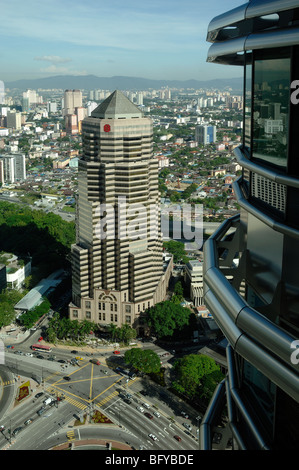 Public Bank, Offices or Office Tower Block, & Petronas Towers KLCC, or Kuala Lumpur City Centre, Malaysia - Stock Photo