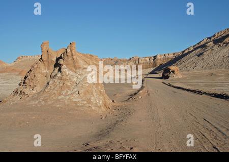 Road through the Valley of the Moon, Atacama Desert, Chile - Stock Photo