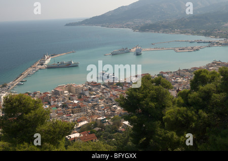 Greece. Zakynthos. Zante. Greek island. October. View over the harbour from Grimani bastion in the Venetian Kastro. - Stock Photo