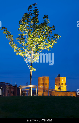 Oslo City Hall and tree on Aker Brygge - Stock Photo