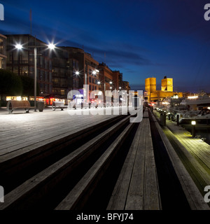 Aker Brygge and Oslo City Hall - Stock Photo