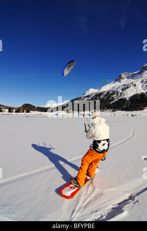 Snowkiting, Lake Silvaplana, St. Moritz, canton of Grisons, Switzerland, Europe - Stock Photo