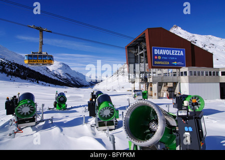 Diavolezza cable car station, St. Moritz, canton of Grisons, Switzerland, Europe - Stock Photo