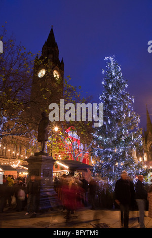 UK, England, Manchester, Alber Square, Continental Christmas Market in front of Town Hall - Stock Photo