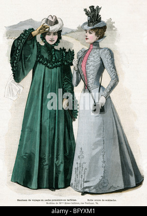 Ladies Fashions, 1898 illustration from French magazine La Mode Illustre of designs by Mmes Brun-Cailleux in Paris - Stock Photo