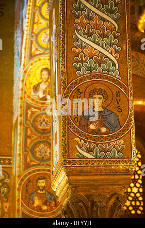 Byzantine mosaics of The Palatine Chapel in the Norman Palace, Palermo Sicily - Stock Photo