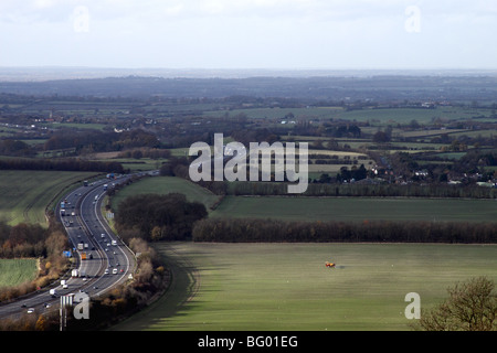 M40 passing through the Oxfordshire countryside November 2009 - Stock Photo