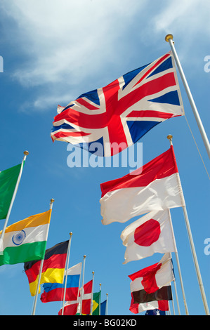 Union Jack and other world countries International flags flying - Stock Photo