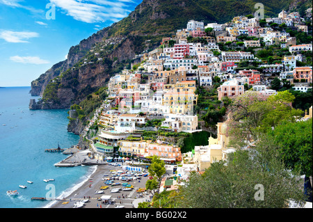 The fashionable resort of Positano, Amalfi coast, Italy - Stock Photo