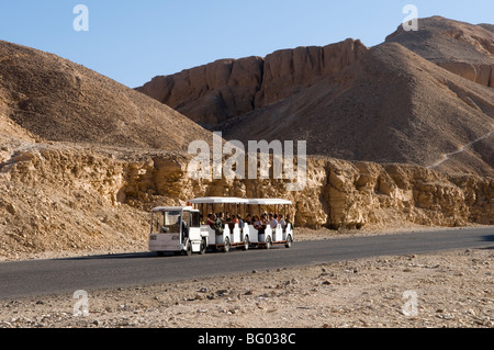 Tourist train at Valley of the Kings near Luxor Egypt - Stock Photo