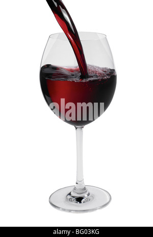Outline of red wine pouring in glass - Stock Photo