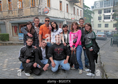 Albanian students in old town of Gjirokastra, Albania - Stock Photo