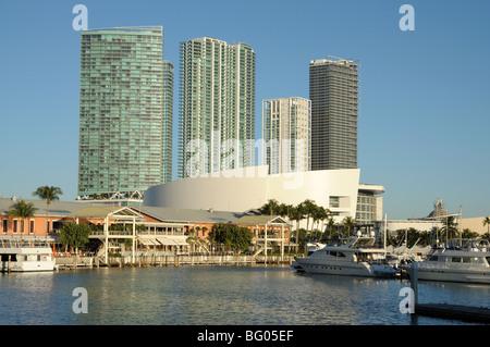 Bayside view of Downtown Miami, Florida USA - Stock Photo