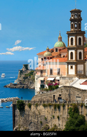 Resort town of Atrani ; Amalfi Coast ; Italy - Stock Photo