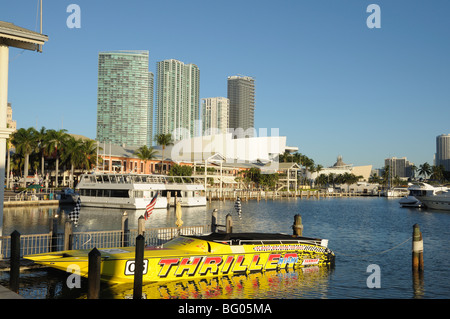 Yellow speedboat at the Bayside Marina, Downtown Miami, Florida USA - Stock Photo