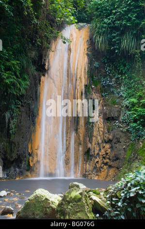 A waterfall at the Diamond Botanical Gardens, St. Lucia, Windward Islands, West Indies, Caribbean, Central America - Stock Photo