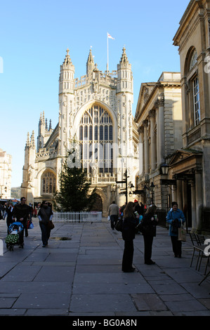 Bath Abbey and the Pump Room in the historic city of Bath Somerset England UK - Stock Photo