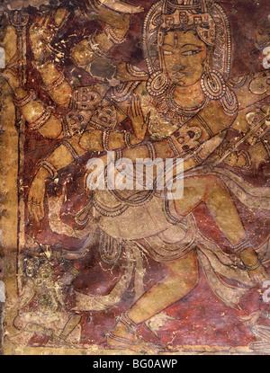 Shiva mural in the Kailasanatha Temple, dating from the 8th century AD, Ellora, Maharashtra, India, Asia - Stock Photo
