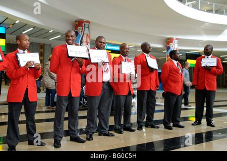greeting team, arrival hall, tambo international airport, johannesburg