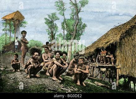 Group of Koyari chiefs and families, southeast New Guinea, 1800s - Stock Photo