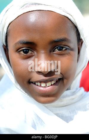 young girl going to church, arba minch, ethiopia - Stock Photo